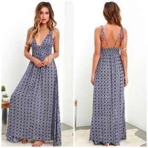 Lulu's Field Day Navy Blue Print Maxi Dress
